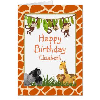Cumpleaños del tema animal de la selva del safari tarjeta de felicitación