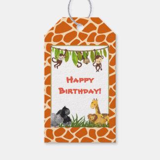 Cumpleaños del tema de la selva del safari del etiquetas para regalos