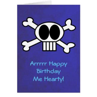 Cumpleaños del tema del cráneo y del pirata de la tarjeta de felicitación