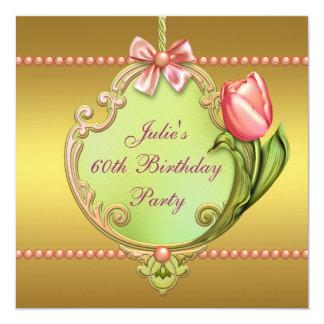 Cumpleaños del tulipán del oro el 60.o del rosa de invitación 13,3 cm x 13,3cm