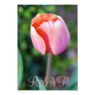 Cumpleaños del tulipán rosado de Quinceanera RSVP Invitación 8,9 X 12,7 Cm