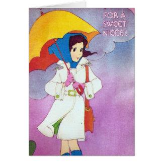 Cumpleaños del vintage para la sobrina tarjeta de felicitación