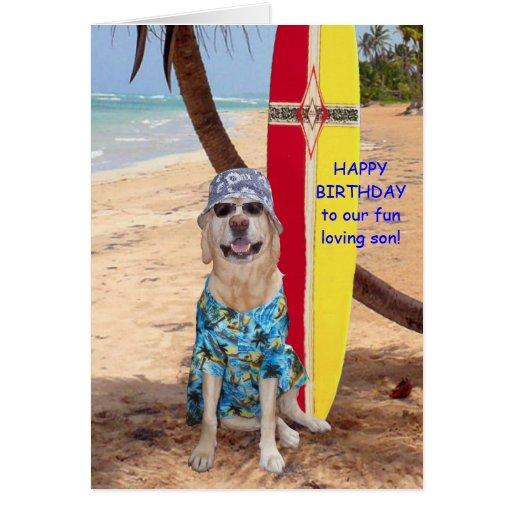 Cumpleaños divertido adaptable del hijo tarjetas
