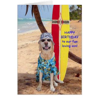 Cumpleaños divertido adaptable del hijo tarjeta de felicitación