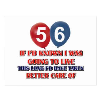 Cumpleaños divertido de 56 años postal