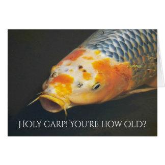 Cumpleaños divertido de la foto de la carpa del tarjeta de felicitación