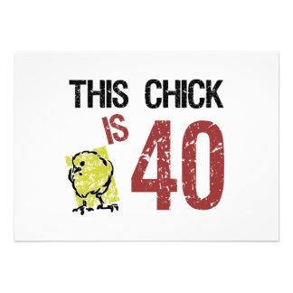Cumpleaños divertido de las mujeres el 40 o invitaciones personales