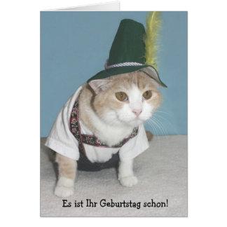Cumpleaños divertido del alemán del gato tarjeta