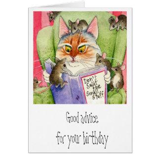 Cumpleaños divertido del gato y del ratón tarjeta