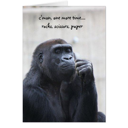 Cumpleaños divertido del gorila, papel de las tarjeta de felicitación