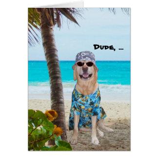 Cumpleaños divertido del Hawaiian del perro/del la Tarjetón