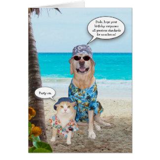 Cumpleaños divertido del Hawaiian del perro/del la Felicitación