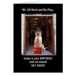 Cumpleaños divertido del perro/del marido del tarjeta de felicitación