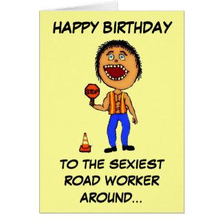 Cumpleaños divertido del trabajador de construcció tarjeta de felicitación