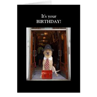 Cumpleaños divertido del varón del laboratorio tarjeta pequeña
