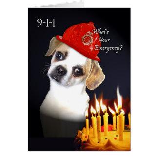 Cumpleaños divertido para el viejo amigo, perro de tarjeta