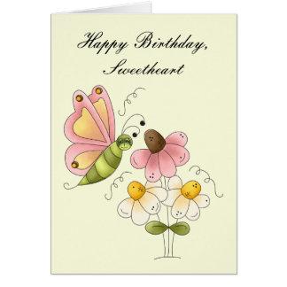 Cumpleaños dulce de la hija de la mariposa tarjeta