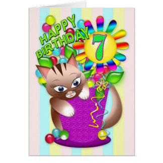 Cumpleaños - edad 7 - celebración del gato del tarjeta