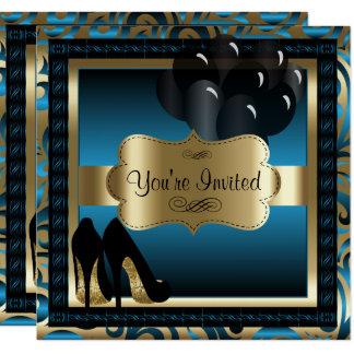 Cumpleaños el | azul y invitación de los tacones