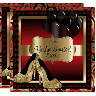 Cumpleaños el | rojo y invitación de los tacones