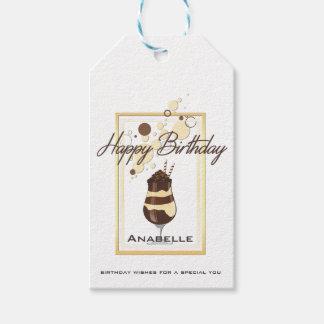 Cumpleaños elegante de la bebida de la vainilla etiquetas para regalos
