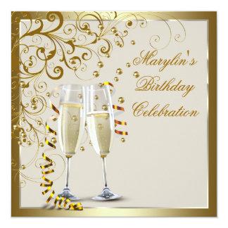 Cumpleaños elegante de la crema del oro de la invitación 13,3 cm x 13,3cm