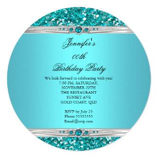 Cumpleaños elegante de la perla del diamante de la invitación 13,3 cm x 13,3cm