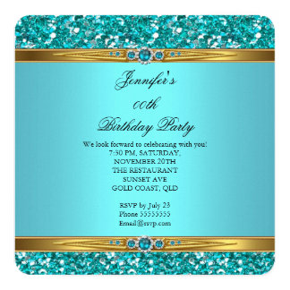 Cumpleaños elegante de la perla del diamante del invitación 13,3 cm x 13,3cm