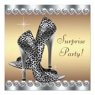 Cumpleaños elegante de la sorpresa de la mujer de invitación 13,3 cm x 13,3cm