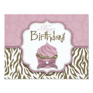Cumpleaños elegante del safari y de la magdalena invitación 10,8 x 13,9 cm