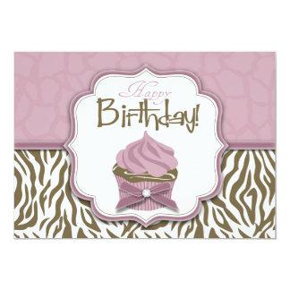 Cumpleaños elegante del safari y de la magdalena invitación 12,7 x 17,8 cm