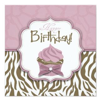 Cumpleaños elegante del safari y de la magdalena invitación 13,3 cm x 13,3cm