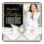 Cumpleaños elegante fabuloso de la gema del invitación 13,3 cm x 13,3cm