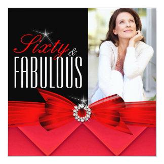 Cumpleaños elegante negro rojo fabuloso de 60 invitación 13,3 cm x 13,3cm
