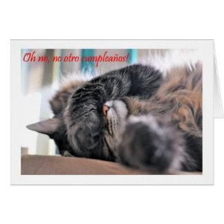 Cumpleaños español de Feliz Cumpleaños con el gato Tarjetón