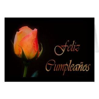 Cumpleaños español de Feliz Cumpleaños con la flor Tarjeta De Felicitación