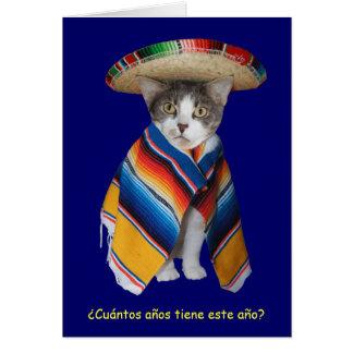 Cumpleaños español divertido del gato del gatito tarjeton