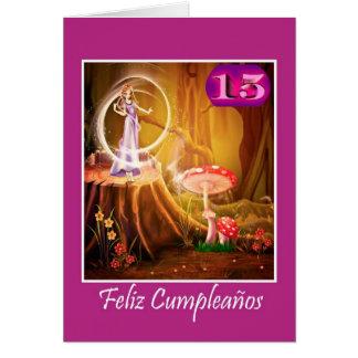 Cumpleaños español para el chica de 15 años con la tarjeta de felicitación