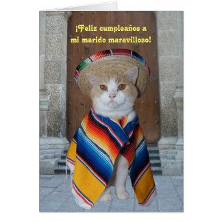 Cumpleaños español para el marido (o el novio) tarjeta de felicitación