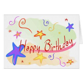 Cumpleaños-Estrellas y Confeti-Chica Felicitación