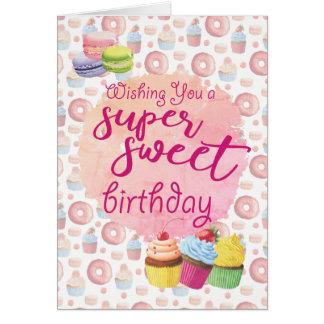 Cumpleaños estupendo rosado de las magdalenas de tarjeta de felicitación