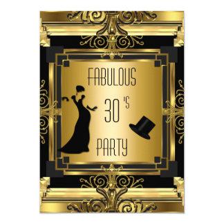 Cumpleaños fabuloso 4D retro de Gatsby Tophat del Invitación 12,7 X 17,8 Cm