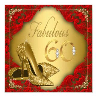 Cumpleaños fabuloso del tacón alto rojo de lujo invitación 13,3 cm x 13,3cm