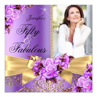 Cumpleaños fabuloso púrpura del arco del rosa del invitación 13,3 cm x 13,3cm