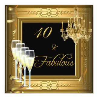 cumpleaños &Fabulous del negro del oro de la Invitación 13,3 Cm X 13,3cm