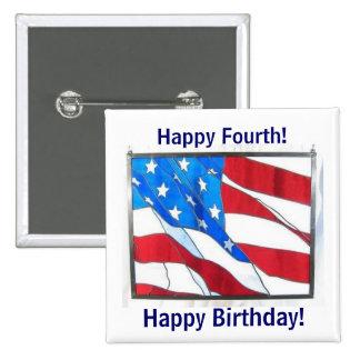 ¡Cumpleaños feliz 4th-of-July! Chapa Cuadrada 5 Cm