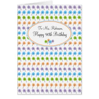 Cumpleaños feliz de las flores minúsculas 90.o tarjeta de felicitación