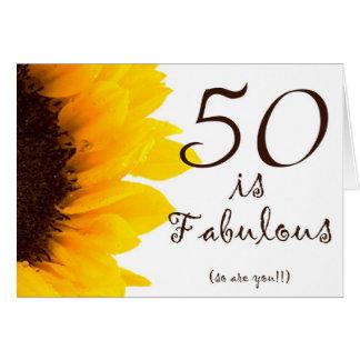Cumpleaños feliz del girasol 50.o tarjeta de felicitación