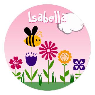 CUMPLEAÑOS feliz del jardín de flores de la abeja Invitación 13,3 Cm X 13,3cm