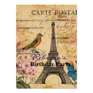cumpleaños femenino de la torre Eiffel de París de Comunicados Personalizados